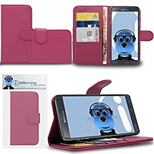 Pink Samsung Galaxy Note 4 SM-N910T Case Durable PU Leather Book Style Wallet Cover with Credit / Business Card Holder and Horizontal Viewing Stand