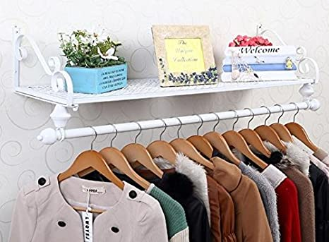 WHITE 4ft 1200mm Wide Wall Mounted Clothes Hanging Rail with Wooden Maple Shelf