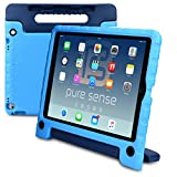 Apple iPad Pro 12.9 case, [NEW] PURE SENSE BUDDY Rugged Kids Shoulder Strap Anti Microbial Germ Bacteria Heavy Duty Children Drop Proof Toy Protective Carry Cover Handle Stand Screen Protector (Blue)