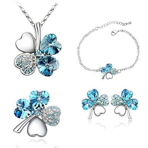 FEDNON Lucky Clover Heart Necklace Bracelet Stud Earrings with Blue Australian Crystal Jewelry set for (Platinum Stud Bracelets)