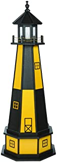 product image for DutchCrafters Decorative Lighthouse with Base - Wood, Cape Henry Style (Yellow/Black, 5)