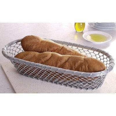 KINDWER Chain Link Metal Bread Basket, 17-Inch, Silver