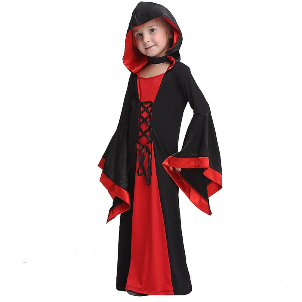 Halloween Children's Performance Clothing Girl's Witch Cosplay Dress Costume (Large)