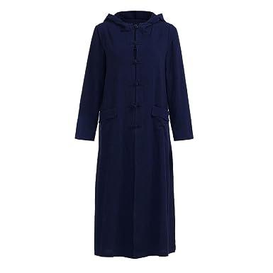 Mit Lang Leinen Trenchcoat Damen Kapuze Kapuzenjacke Kleid Dasongff Mantel Langarm Oversize Nmnw80