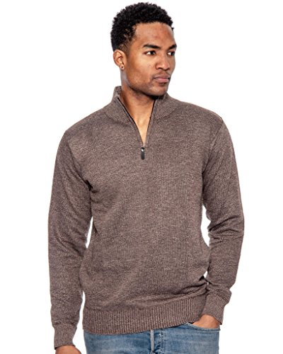(True Rock Men's Big & Tall Size Mock Neck 1/2 Zip Sweater-HeatherBrown-4XL)