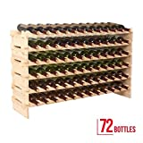 Holder storage 6 tier 72 bottles solid wood display shelves wine rack stackable
