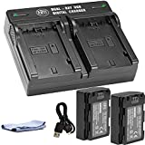 NP-FZ100 BM Premium Replacement Battery Charger Set and Dual USB Charger Compatible with Sony Alpha A7 III, A7R III, A9, Sony Alpha 9, A7R3 (2-Pack, Versatile Charging Option, 2280mAh)