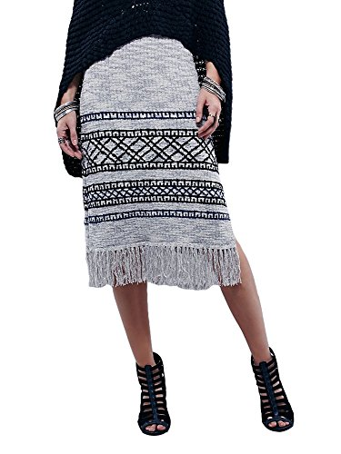 - Free People Women's Fringe Sweater Skirt Grey Combo Skirt SM (Women's 4-6)