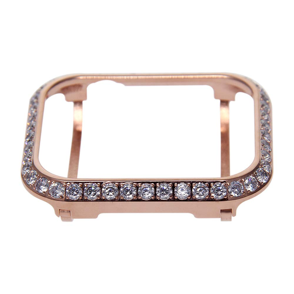Compatible with Apple Watch Case 38mm, iWatch Series 5 4 3 2 1 Metal Bumper Protective Cover Frame Accessories Women Girl Bling Shiny Crystal Rhinestone Diamond (Rose Gold, 38mm) by SDMADE