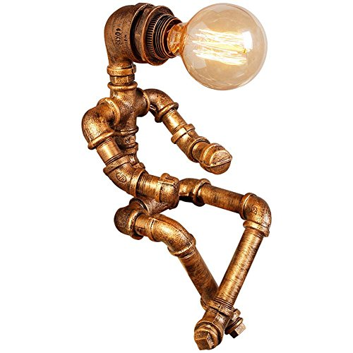 DMMSS Retro ?Metal Industrial Water Pipes Robot Lamps Sitting Upright Robot Table Lamps ( Robot Water Pipes Desk Lamps) Children'S Christmas Gifts Children'S Office Learn Desk Lamp by DMMSS Pyjamas