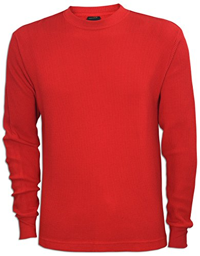 Red Thermal (JLGUSA Men Heavy Weight Plain Thermal Long Sleeve Waffle Shirts Solid Colors (L, Red))