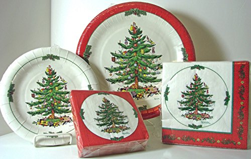 spx72r Serves 16! Spode Christmas Tree Paper Plates & Napkins, 72 Pcs Red Border