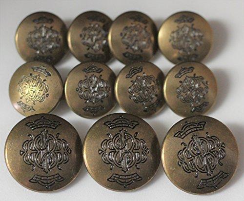 Importing Antique Brass - Antiqued Brasstone Metal Alloy JACKET BLAZER 11 BUTTON SET