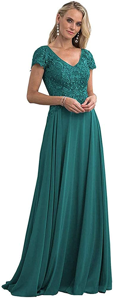 1940s Evening, Prom, Party, Formal, Ball Gowns V Neck Chiffon Mother of The Bride Dresses Long Short Sleeve Lace Formal Gowns for Women $99.99 AT vintagedancer.com