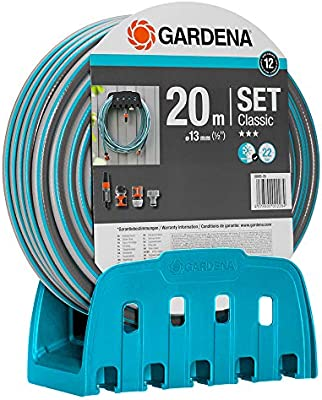 Soporte mural para manguera con manguera de GARDENA: manguera de 20 m, lanza y soporte; manguera resistente a la presión y rígida, combinable con todos los dispositivos GARDENA (18005-20): Amazon.es: Jardín