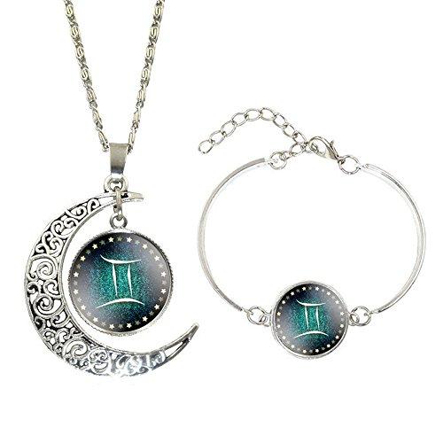 CHOA Vintage 12 Constellations Bracelet And Moon Pendant Necklace Zodiac Sign Jewelry Set (Gemini)