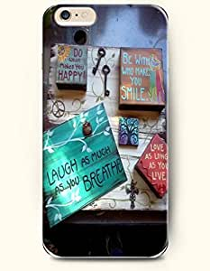 Phone Case Cover For Apple Iphone 6 Plus 5.5 Inch Hand Drawing Painting / What Makes You Happy Be with Who Makes You Smile Laugh As Much As You Breathe Love As Long As You Live / Life Quotes