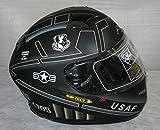 3XL AKUMA STEALTH Motorcycle Helmet MATTE BLACK with Built In LED Lights! USAF logo