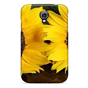 Tpu Phone Case With Fashionable Look For Galaxy S4 - Big Sunflowers