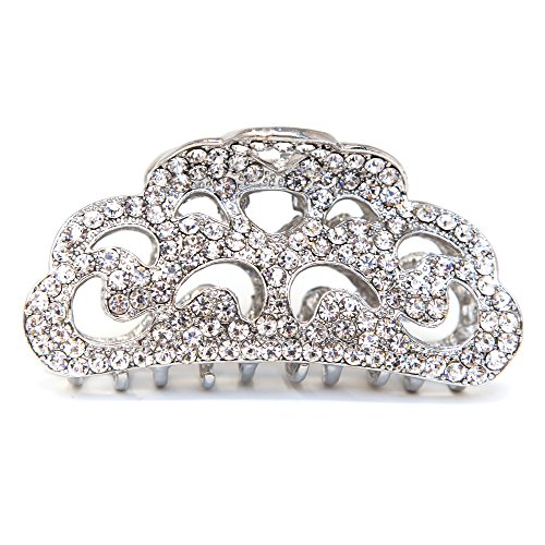 Price comparison product image Metal Large Women Rhinestones Crystal Hair Claw Clip hair jaws bridal hair clamp by beautyxyz (white)