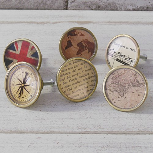 Set of 6 Travel Themed Cupboard Door Drawer Pulls Gold Map Compass Vintage Atlas (Pulls Map Drawer)