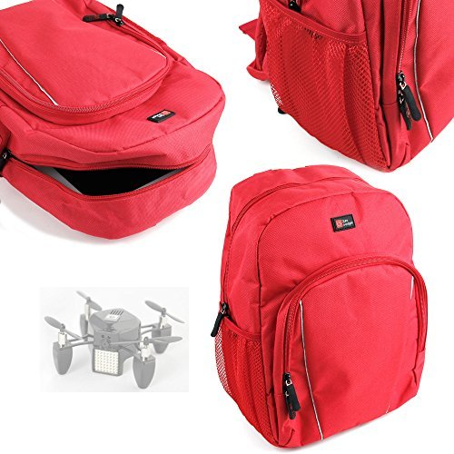DURAGADGET Drone / Quadcopter Carry Bag High Quality Water-Resistant Bright Red Backpack With Black Rain Cover for Flyzano Zano Drone