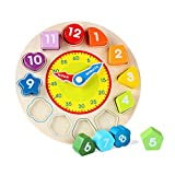 Baby : Joqutoys Wooden Shape Sorting Clock Puzzle Teaching Time Number Blocks Educational Toy for Kids