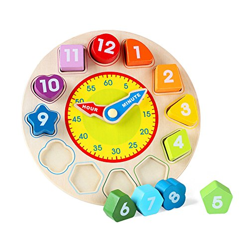 Jacootoys Shape Sorting Clock Wooden Educational Toy for - Test Shape Face