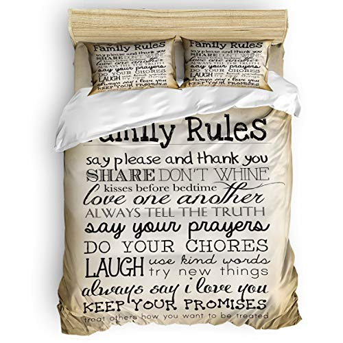 Libaoge Bedding Duvet Cover 4 Piece Set Queen Size, Hand Writing Family Rules Comforter Cover with Corner Ties/Flat Sheet/Pillowcases for Men Women Adults Teen Kids -