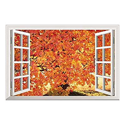 Red Maple Leaf in Autumn Open Window Mural Wall Sticker 36