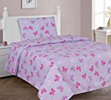 MB Collections Pink Butterfly, White Butterfly 3 Pcs Printed Sheets with Pillowcase for Girls / Kids / Teens # Twin Size 3 Pcs Sheets Set