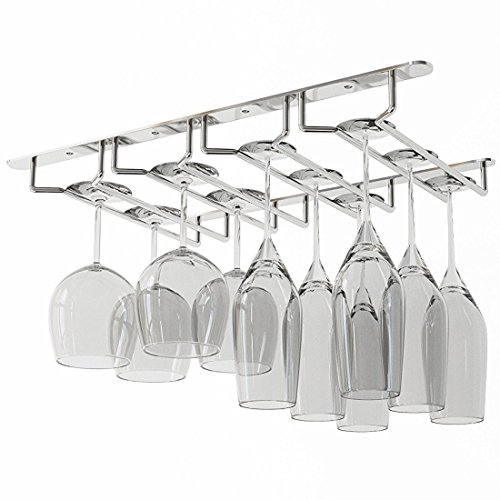 (JMiles Under Cabinet Hanging Stemware Rack Hold Up To 12 Wine Glasses (Chrome))