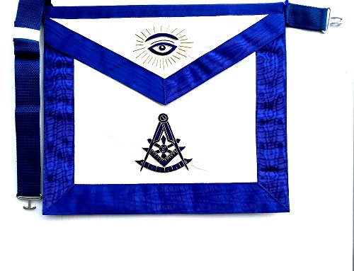D2560-G Apron Masonic Past Master Royal Blue with Gold Bullion by DEAN & ASSOCIATES