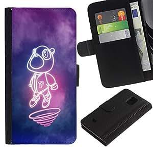 Billetera de Cuero Caso Titular de la tarjeta Carcasa Funda para Samsung Galaxy S5 Mini, SM-G800, NOT S5 REGULAR! / Neon Chipmunk / STRONG