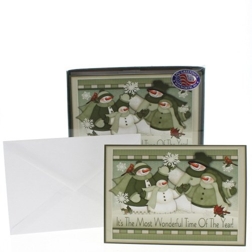 Most Wonderful Time - LPG Angela Anderson Snowman Box of 16 Christmas Cards