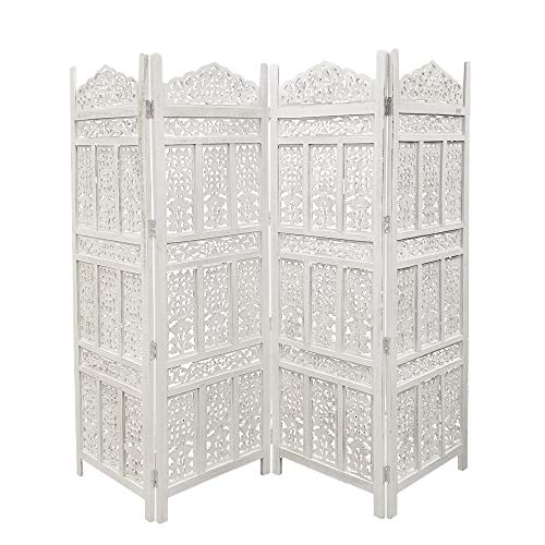 The Urban Port Antique 4 Panel Handcrafted Wooden Room Partitions, White (Screen Dividers Wooden)