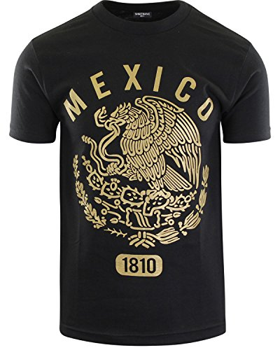 Original Mexican American Inspired Mens Shirts (Mexico Eagle Gold 1810, L) (Eagle Gold Large)