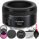 Canon EF 50mm f/1.8 STM Lens 8PC Accessory Bundle – Includes Manufacturer Accessories + 3PC Filter Kit (UV + CPL + FLD) + Lens Cap Keeper + MORE – International Version (No Warranty)