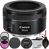 Canon EF 50mm f/1.8 STM Lens 8PC Accessory Bundle – Includes Manufacturer Accessories + 3PC Filter Kit (UV + CPL + FLD) + Lens Cap Keeper + MORE – International Version (No Warranty)