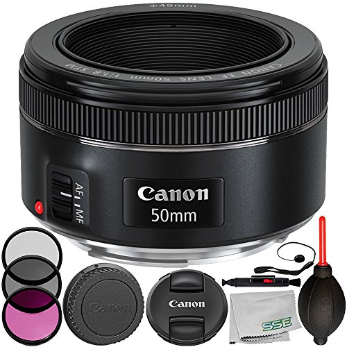 Canon EF 50mm f/1.8 STM Lens 8PC Accessory Bundle – Includes Manufacturer Accessories + 3PC Filter Kit (UV + CPL + FLD) + Lens Cap Keeper + More – International Version (No Warranty) from SSE