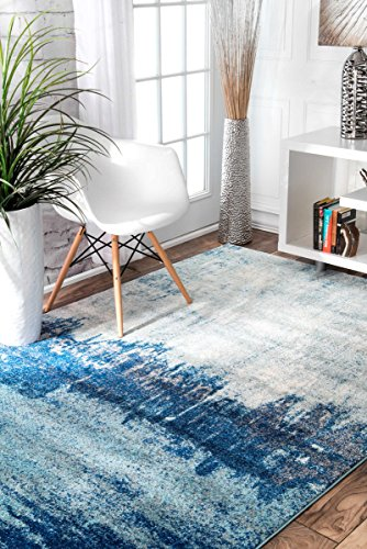 nuLOOM RZBD51A Blue Alayna Abstract Area Rug, 8' x 10', Blue