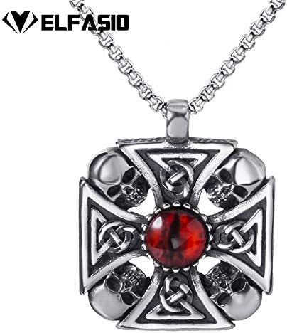 Mens Stainless Steel Pendant Chain Celtic Solar Cross Skull Devils Eye Necklace Fashion Jewelry Metal Color: 90cm Chain