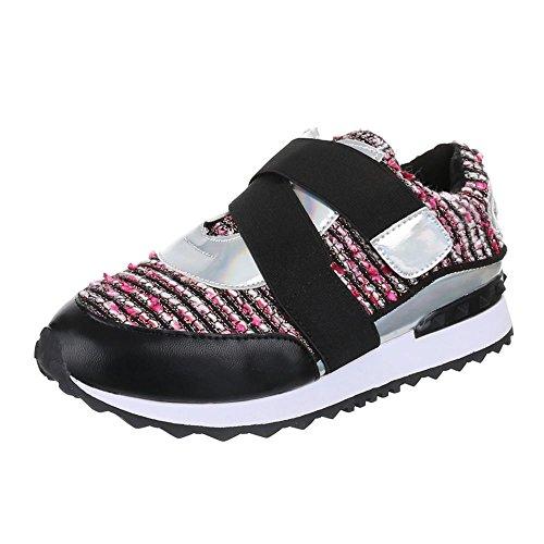 Ital-Design Damen Schuhe, FC-58TT, Freizeitschuhe Sneakers Turnschuhe Schwarz Rosa