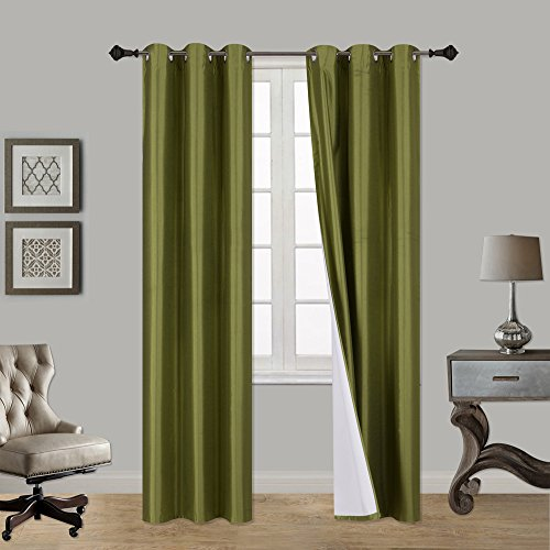 LuxuryDiscounts 2 Piece Thick Faux Silk Blackout Insulated Room Darkening Grommet Top Window Curtain Panel Drapes with Foam Back Layer Protection (Lime Green, 37