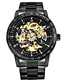 GuTe IK Casual Mens Black Steel Skeleton Automatic Mechanical Wristwatch Golden Dial Tachymeter