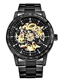 GuTe IK Casual Mens Black Steel Skeleton Automatic Mechanical Wristwatch Golden Dial Tachymeter