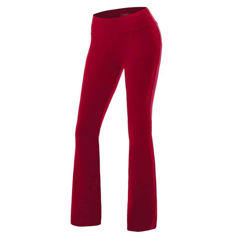 Ladies Stretch Bootleg Trousers High Waist Ribbed Elasticated Women Bootcut Yoga Pants