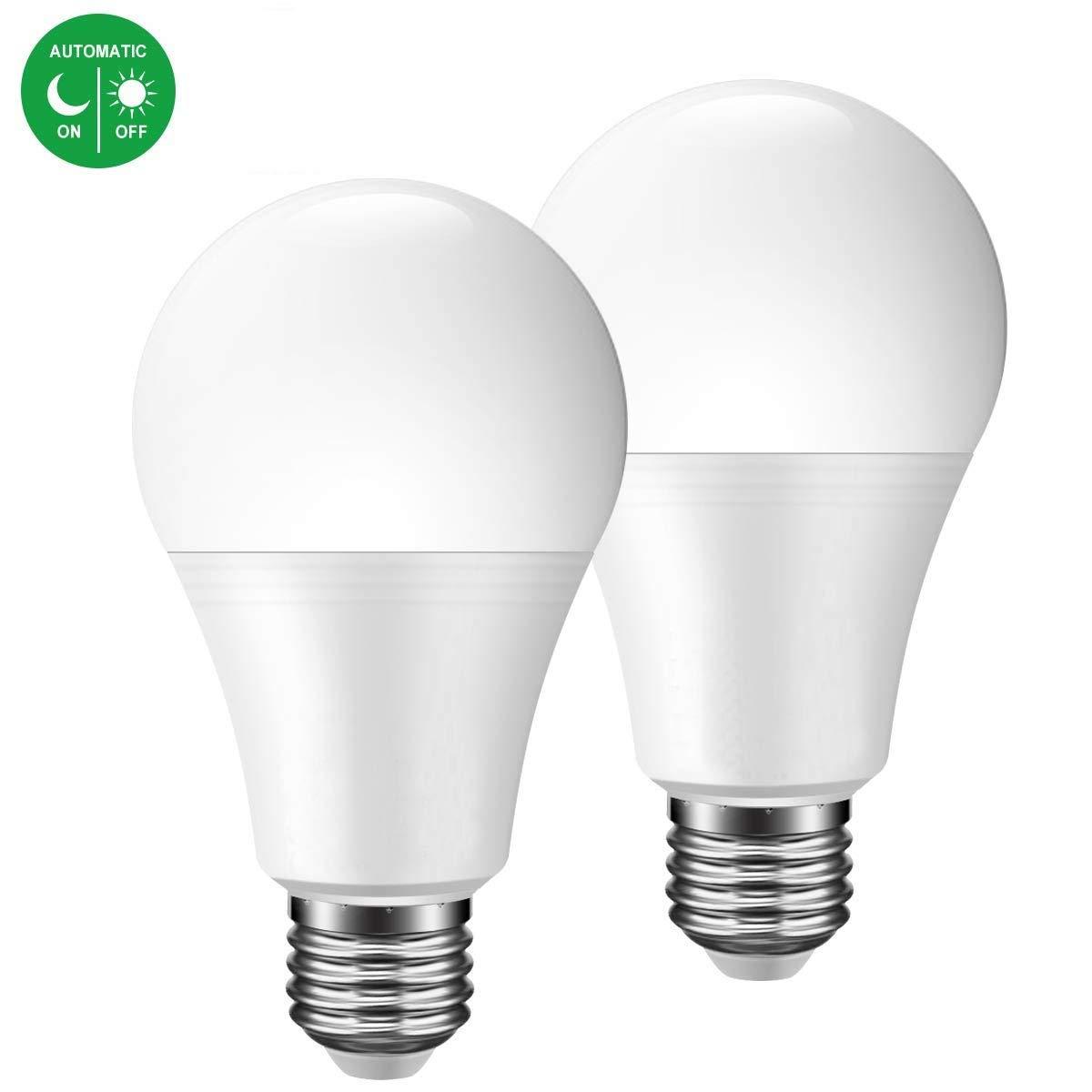 Bombillas LED sensor crepuscular,JUSIAL 7W larga vida bombillas LED con encendido / apagado automáticamente, Iluminación interior / exterior Lampara para ...