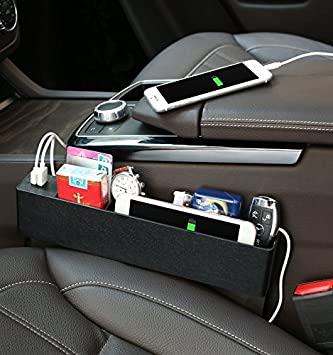 JIAKANUO Auto Car Seat Side Pocket,Console Side Pocket,Car Pocket Organizer with Coin Holder 2 USB Ports Seat Gap Filler for Cellphones,Keys,Cards,Wallets Gray