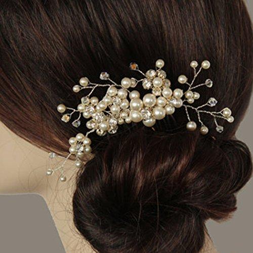 Price comparison product image Jovono Womens Silver Hair Combs Rhinestone bead Brida Wedding l Headpieces for Women